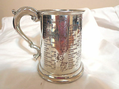 vintage English pewter tankard /kings and Queens
