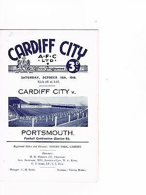 Cardiff City reserves v Portsmouth reserves 48/9