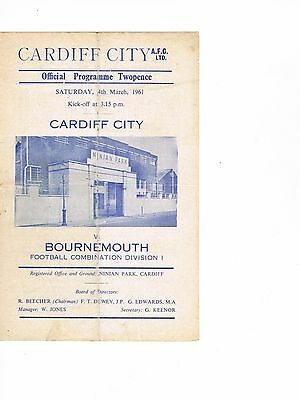 Cardiff City Reserves v Bournemouth Reserves 60/1 4 page
