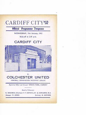 Cardiff City Reserves v Colchester United Reserves 61/2 4 page
