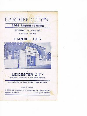Cardiff City Reserves v Leicester City Reserves 61/2 4 page