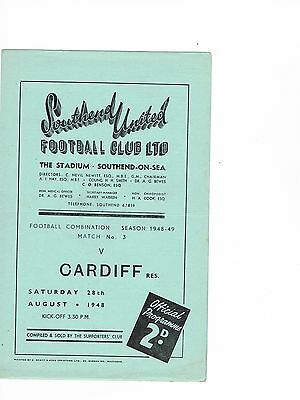 Southend United Reserves v Cardiff City Reserves 48/9 4 page
