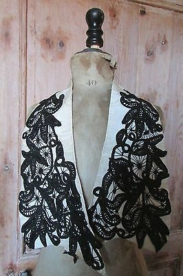 Pr Matching Antique French Edwardian Lady Spring Coat Lace Moire Silk/ Lapels