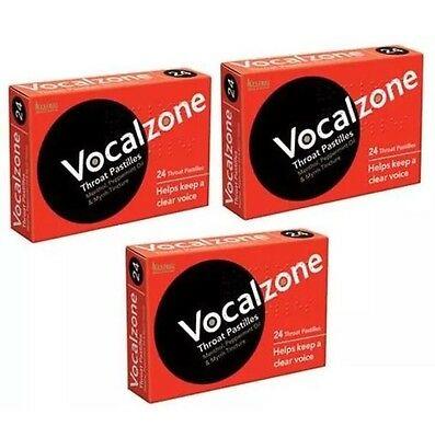 3 X Vocalzones Vocalzone - 24 Throat Pastilles Helps Keep A Clear Voice