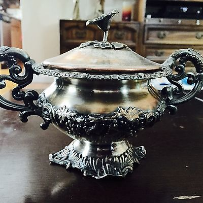 Rare Mark Item Large Unique Fraget Ornate Floral Covered Sugar Bowl Grape Leaf