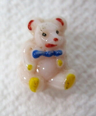 Vintage Soft Pink Glass Teddy Bear Shaped Button 1/2 x 3/8 Inch Hand Painted