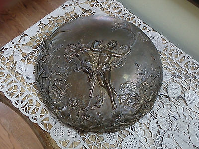 Antique Art Nouveau Bronze Nympths and Dragonfly Decorative Wall Plaque