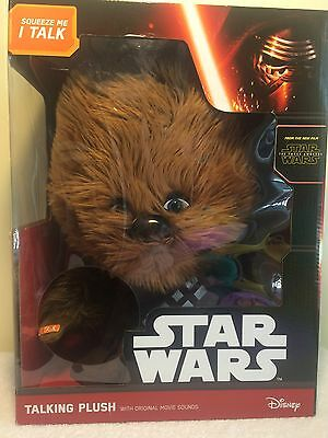 "Disney Star Wars New Plush Talking Chewbacca 15"" Stuffed Animal Movie Sounds Toy"