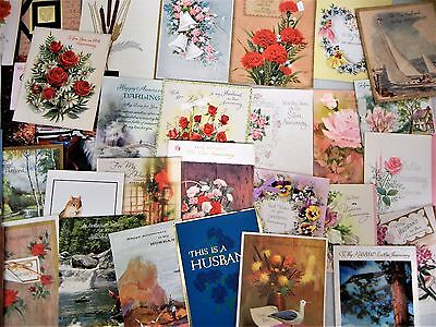 Vintage Greetings cards Anniversary 1960-70-80 era Wife Husband Lot of 32 cards