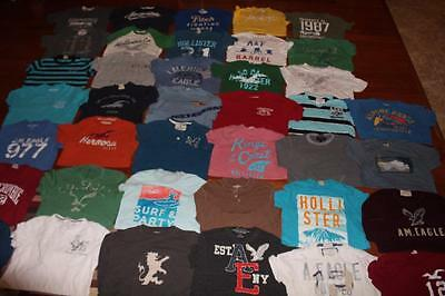 Huge Lot 39 Mens Hollister T Shirts American Eagle Graphic Tees A&f Aero Small