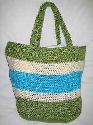 HANDMADE Knit CROCHET Womens HAND BAG Purse BEACH Medium TOTE Book TRAVEL Tablet