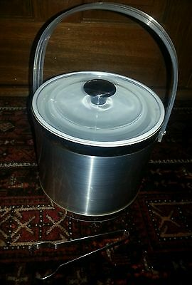 Vintage retro anodised silver ice bucket with tongs and lid