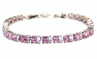 Silver Pink Sapphire And White Topaz 11ct Adjustable Tennis Bracelet