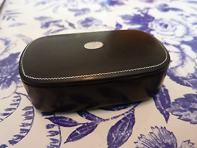Antique papier mache snuff box with inlaid Pewter decoration