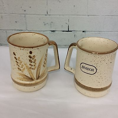Set of 2 Brador Laurentian Pottery Canada Ceramic Beer Stein Advertising  Mugs