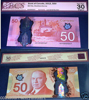 """ 67 Low serial Number"" Bank of Canada 2012 $50"