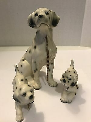 Vintage Erich Stauffer Ceramic Dalmation Dog Family w/ Chains Figurines Japan