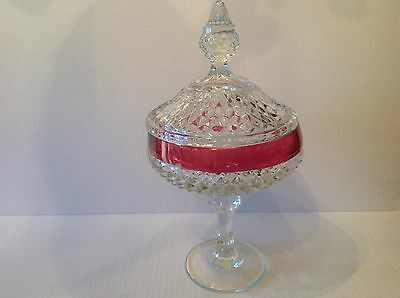 """Indiana Glass Diamond Point Covered Candy Bowl Ruby Flushing 12"""" Tall"""