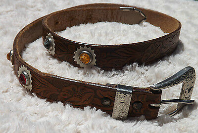 Vintage Leather Jeweled Cowgirl Belt Tooled Small Sz 30