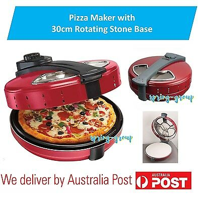 BENZER Electric Pizza Maker Cooker Stone Base Pizza Oven Large Rotating 30cm