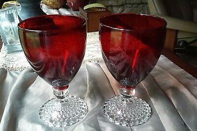 """2 Exc Anchor Hocking  5 3/8"""" Ruby Red Bubble Foot Water Goblets Glasses"""