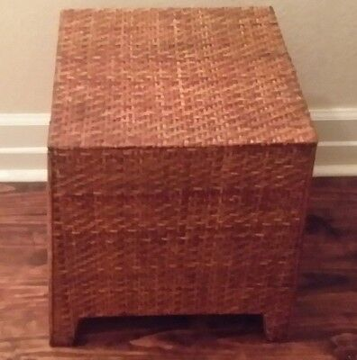 1 Wicker Rattan Ottoman Foot Stool Pouf Hassock  End Side Table Square Pyrimid