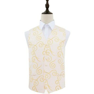 Premium Woven Jacquard Scroll Mens Wedding Formal Waistcoat - Gold