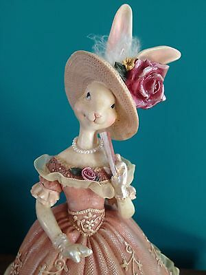 Easter Bunny Victorian Lady Southern Belle Rabbit Centerpiece Doll Elegant Gown