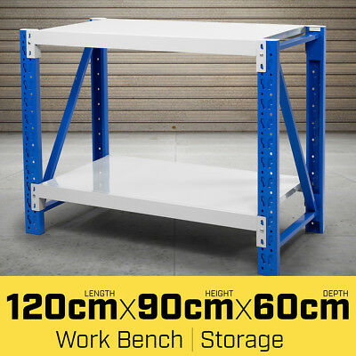 1.2M Steel Garage Work Bench Shelves Workshop Rack Shelving Tool Warehouse Table