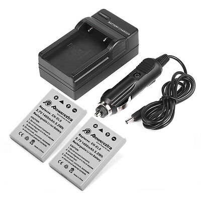 Charger For Nikon COOLPIX P3 P4 P90 P510 P520 P6000 2Pcs EN-EL5 1400mAh Battery