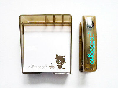 NEW SANRIO VINTAGE 1996, 2004 CHOCOCAT Memo Cube Holder & Stapler Set *KAWAII*