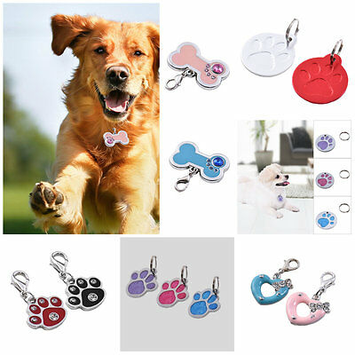 Glitter Paw Print Pet ID Tag Dog Puppy Cat Kitten Name Tags Engraved Collar Tag