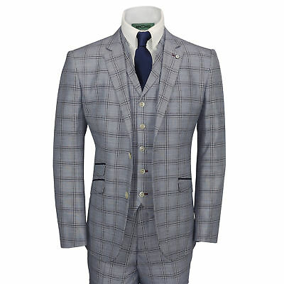 Mens 3 Piece Suit Vintage Blue on Grey Prince of Wales Check Smart Tailored Fit