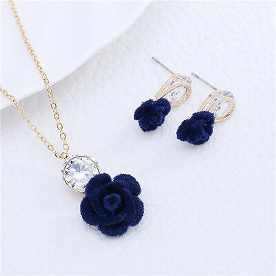 Ladies Necklace Earrings Jewelry Set Rose Flower Crystal Gold Plated Chain