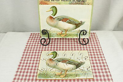 Vintage Two sided wooden puzzle, Mallard Duck, Geese. Complete
