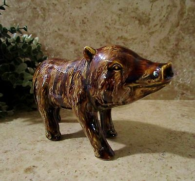 Vtg. Ceramic Wild Boar~Pig Varigated Browns & Creams Unsigned Mint Condition!!!