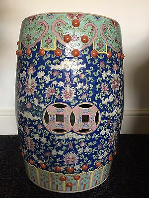 "Chinese ""Lotus and Bats"" Garden Stool ""REDUCED FROM £300"""