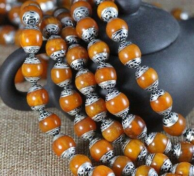Wholesale Tibetan Silver Repousse Caps Beeswax Amber Beads 10, 20 or 30 pieces
