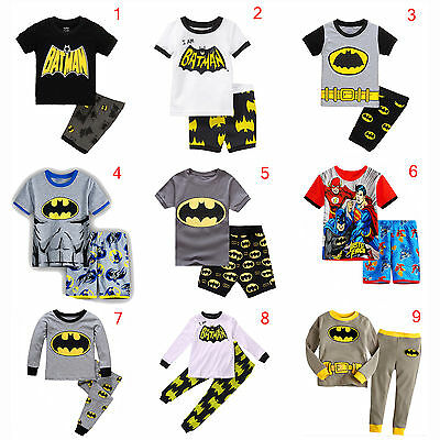 Batman Kids Boys Short / Long Sleeve Cotton PJS Pajamas Set Sleepwear Nightwear