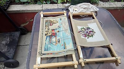 2 X Rotating Wooden Easy Clip Tapestry Frames, With Patent's + Threads