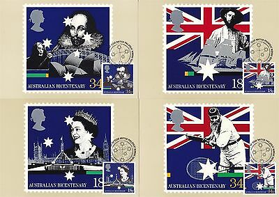 Great Britain 1988 Australia Bicentenary 4 PHQ Cards (Stamps on Front)