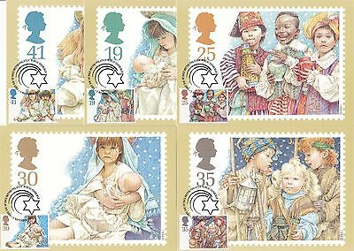 Christmas 1994 Great Britain 5 PHQ Cards (Stamps on Front)