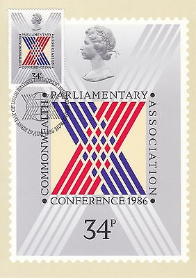Commonwealth Conference 1986 Great Britain PHQ Card (Stamp on Front)