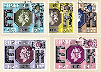25 Years Queen Elizabeth II Great Britain 5 PHQ Cards (Stamps on Front)