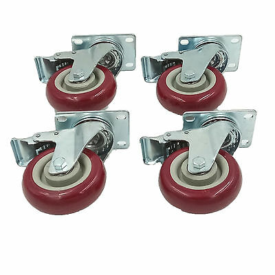 """Set of 4 Plate Caster with 4"""" Polyurethane Wheels All Swivel All Brake Casters"""