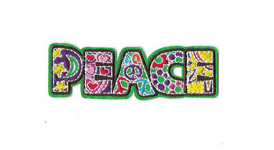 GREEN PEACE SIGN IRON ON / SEW ON PATCH Embroidered Badge LOVE PT246