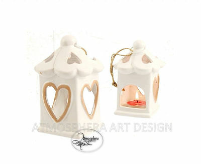 Lanterna cuore portacandela TEA LIGHT in ceramica bianco addobbi decor
