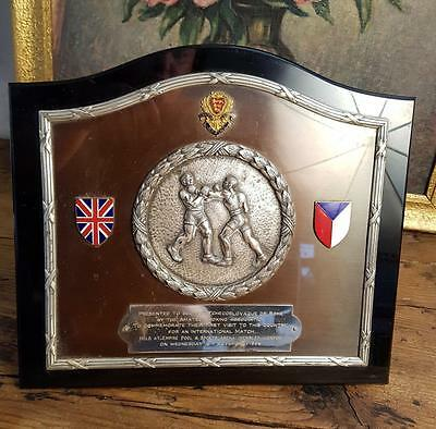 Amateur Boxing silver plated and plastic plaque Arena Wembley London(s13044