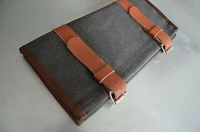 Tool Roll Canvas & Leather Retro Vintage Classic Motorcycle Motorbike