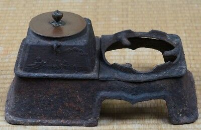Antique Kama iron and bronze kettle Tea Ceremony craft 1800s Japanese art